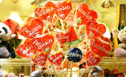 Lollipops in a showcase Stock Photo