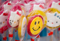 Lollipops with smiley on the market Stock Photo