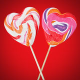 Lollipops on sticks in the form of heart Stock Image
