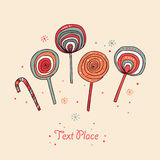 Lollipops. Sugarplums.Different fruit drops. Sugar candes. Sweet banner Stock Photos