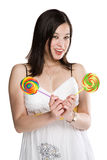 Lollipops woman Royalty Free Stock Image