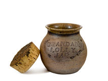 Lolly jar. Grandad's pottery lolly jar with cork lid Royalty Free Stock Photography