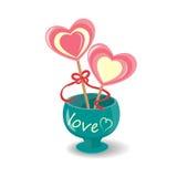 Lolly twee op de Dag van Valentine Royalty-vrije Stock Afbeeldingen