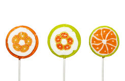 Lollypop candy sweets food. Close up of lollypop on white background, with clipping path Stock Image