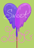 Lollypop greeting card. sweet love valentine card. raster version Royalty Free Stock Image