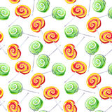 Lollypop repeating pattern. Water colour Stock Photo
