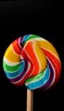 Lollypop trennte auf Schwarzem Lizenzfreie Stockfotos