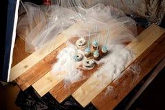Lollypops sidosikt på snön backstabbing royaltyfria bilder