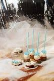 Lollypops zijaanzicht over de sneeuw en een paar donuts Verticaal kader Royalty-vrije Stock Foto's