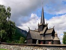 Lom-houten kerk van 12de eeuw Stock Foto