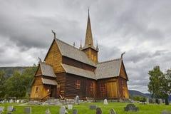 Lom medieval stave church. Viking symbol. Norwegian heritage Stock Image