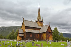 Lom medieval stave church. Viking symbol. Norwegian heritage. Royalty Free Stock Photography