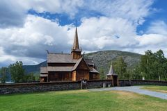 Lom Stave Church, Norway. Lomskyrkja - the church in Lom. Oldest preserved timber buildings. Wonderful tourist attraction of Norway Royalty Free Stock Photo
