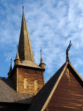 Lom stavkyrkje 04. Traditional Norwegian wooden Stave Church stock photography