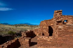 Wupatki National Monument near Flagstaff, Arizona, preserves and protects this ancient Anasazi ruin, called Lomaki Pueblo Royalty Free Stock Photography