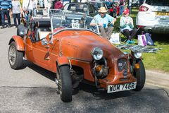 Lomax sports car seen at Grantown stock photos
