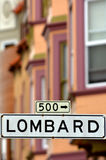Lombard St - Street sign  in San Francisco CA Royalty Free Stock Photos