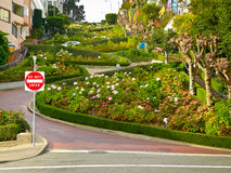 Lombard street from below Royalty Free Stock Photos