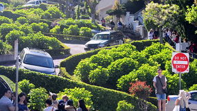 Lombard Street, car traffic, San Francisco, USA,. SAN FRANCISCO, USA - APRIL 30: car traffic on famous Lombard Street on April 30, 2017 in San Francisco, USA. It stock footage