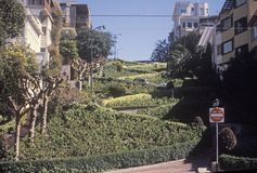 Lombard Street, the crookedest street in the world in San Francisco, California Royalty Free Stock Photo
