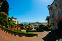 Lombard Street Curves, San Francisco. Lombard Street Curves With Aerial City View in Background. San Francisco, California, USA Stock Images
