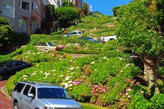 Lombard Street Gardens. Crooked street in San Francisco stock photography
