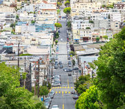 Lombard street with green trees in San Francisco Royalty Free Stock Images