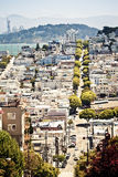 Lombard Street from Hyde Street in San Francisco Stock Photo