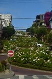 Lombard Street Impressive Unevenness Of One Of The Streets Of San Francisco. Travel Holidays Arquitecture royalty free stock photo