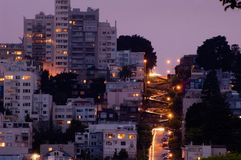 Lombard street at night Royalty Free Stock Images