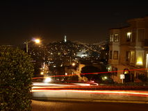 Lombard street. Night view of Lombard street Royalty Free Stock Photo