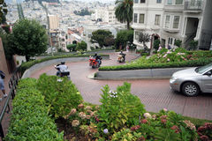 Lombard street San Francisco motor cycles Stock Photo