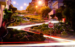 Lombard Street in San Francisco at Night Royalty Free Stock Image