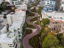 Lombard street in San Francisco. Tourist attraction. Royalty Free Stock Image