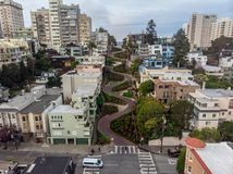 Lombard street in San Francisco. Tourist attraction. Royalty Free Stock Photography