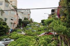 Lombard ulica na Rosyjskim wzgórzu San Fransisco, Kalifornia Zdjęcia Royalty Free