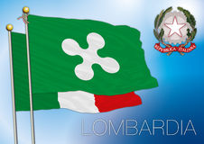 Lombardia, περιφερειακή σημαία της Λομβαρδίας Στοκ Εικόνες
