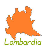 Lombardia map Royalty Free Stock Photos