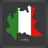 Lombardia map with Italian national flag illustration Royalty Free Stock Photo