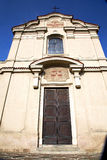 Lombardy    in  the carbonate   old   church  closed brick towe Royalty Free Stock Photo