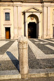 Lombardy    in  the castano    closed brick tower sidewalk ital Royalty Free Stock Photos