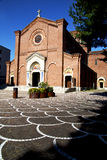 Lombardy    the castellanza    old   church  closed brick tower Royalty Free Stock Images