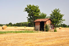 Lombardy countryside, hay-balls on the meadow Stock Photography