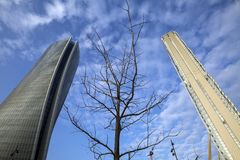 Lombardy -Milan - Italy - CityLife. The Generali tower and Allianz tower Stock Photos
