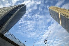 Lombardy -Milan - Italy - CityLife. The Generali tower and Allianz tower Royalty Free Stock Photography