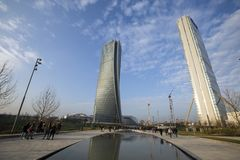 Lombardy -Milan - Italy - CityLife. The Generali tower or Hadid tower Stock Photo