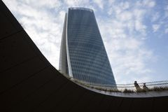 Lombardy -Milan - Italy - CityLife. The Generali tower or Hadid tower Royalty Free Stock Images
