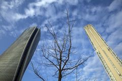 Lombardy -Milan - Italy - CityLife. The Generali tower and Allianz tower Stock Photography
