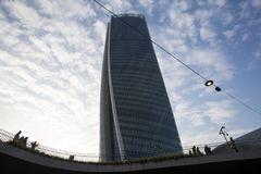 Lombardy -Milan - Italy - CityLife. The Generali tower or Hadid tower Royalty Free Stock Photography