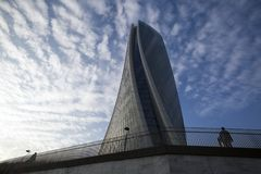 Lombardy -Milan - Italy - CityLife. The Generali tower or Hadid tower Royalty Free Stock Image